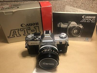 Vintage Canon AT-1 35mm Film Camera W/ Canon 50mm F/1.8 Lens and Lens Cap Clean