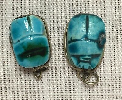 Ancient Egyptian Turquoise Blue Faience Scarabs & Inscribed Hieroglyphics