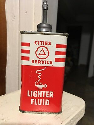 Vintage RARE Cities Service Lighter fluid Lead Top Handy Oil Can NO RESERVE!!