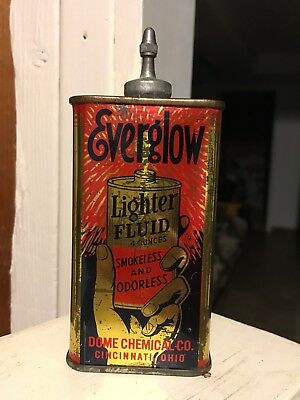 Vintage RARE Everglow Lighter fluid Lead Top Handy Oil Can NO RESERVE!!