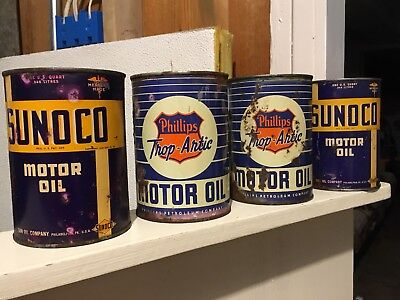 Vintage Sunoco Phillips 66 lot of four Quart Oil cans empty cool NO RESERVE!!