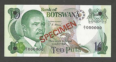 Botswana 10 Pula N.D. (1982); UNC; P-9s1, L-B109as; SPECIMEN; National Assembly