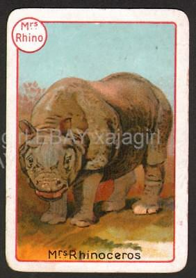 RHINOCEROS Female, Lovely Victorian Playing Card- Swap
