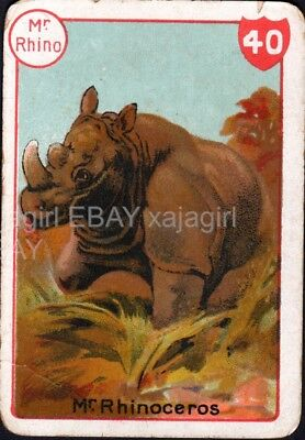 RHINOCEROS Male, Lovely Victorian Playing Card- Swap