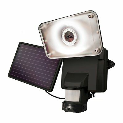 MAXSA Solar Powered Wireless Outdoor Video Security Camera and Floodlight/Black
