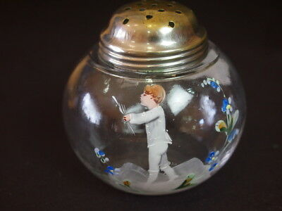 Antique Mary Gregory Hand Painted Clear Glass Sugar Shaker