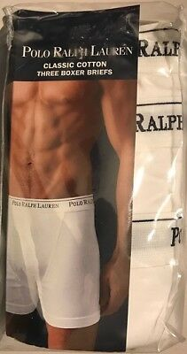 pack of 3, Polo Ralph Lauren  Classic Cotton Boxer Briefs Small White