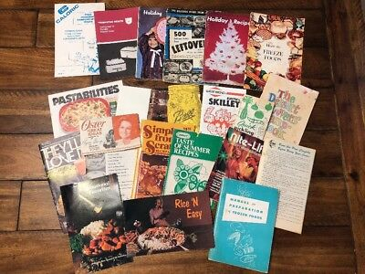 Lot of 22 Vintage Pamphlets Cookbooks Manuals Recipes 1950s 1960s 1970s