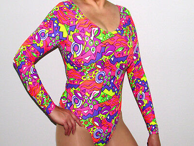 Beautiful Brand New Hawaiian Floral Bodysuit Or Leotard Sexy Long Sleeved Suit