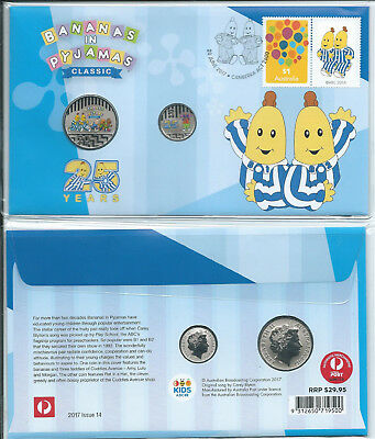 2017 5 & 20c '25 Years Bananas in Pyjamas' Colored Frosted Coins PNC
