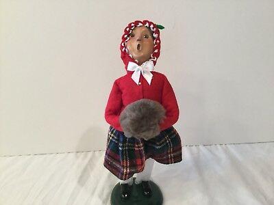 Byers Choice The Carolers Little Girl Red Jacket Freckles Gray Muff Plaid Skirt