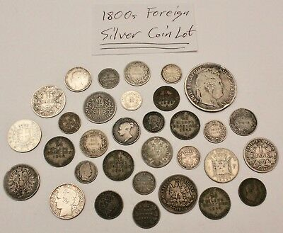 1800s Foreign Silver Coin Lot: Collection of 1800s World Silver Coins