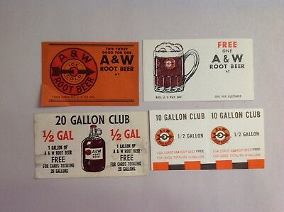 4 Different A & W Root Beer Free Drink Coupons