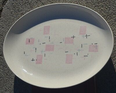 "Vintage MCM Metlox Vernon Vernonware Tickled Pink Pattern 13"" Oval Serve Platter"