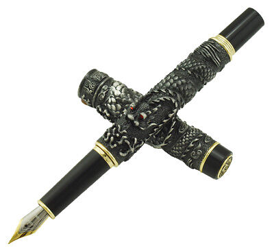Jinhao Gray Vintage Fountain Pen Double Dragon Playing with Pearl 18KGP M Nib