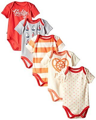 Nautica Baby boy Infant 5 Pack Bodysuits,  0-3 month