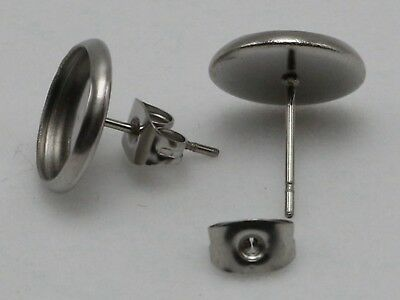 20 Pcs 316L Stainless Steel Earring Blank Ear Post Cabochon Setting with Stopper