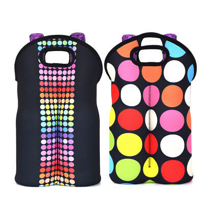2 Pair Wine Tote Cooler Water Bottle Bag Champagne Carrier for Party Holiday