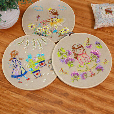 5xWooden Machine Frame Cross Stitch Hoop Embroidery Ring Bamboo Sewing Hand Tool
