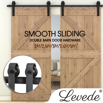 2.4/3/3.6/4M Antique Classic Sliding Barn Double Door Hardware Track Roller Kit