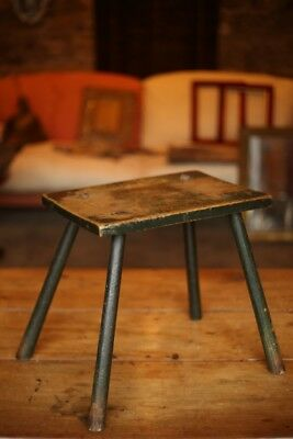 18th Century English Stick stool with original green paint
