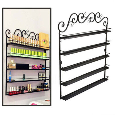5 Tier Metal Wall Mounted Nail Polish Rack Organizer Display Holder Shelf Home