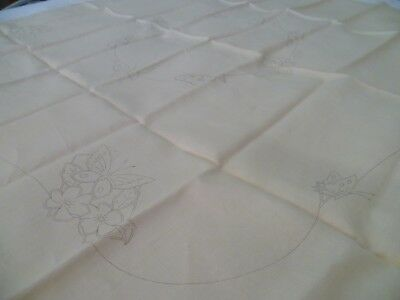 Vintage Fautleys Traced Pure Linen Tablecloth Unworked Butterflies Floral No 132