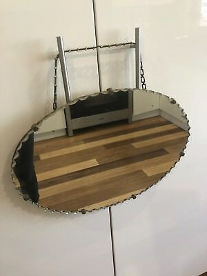 Lovely Art Deco Oval Mirror With Scalloped Edge & Original Chain