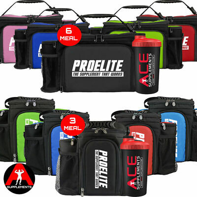 ProElite 2nd GEN- 3 or 6 Meal Food Prep Bag with Containers +FREE Ace Shaker