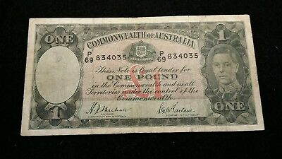 1938  SHEEHAN / McFARLANE  ONE POUND  COMMONWEALTH OF AUSTRALIA BANKNOTE # C4