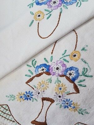 Vtg Hand Embroidered Floral Design On Linen Victorian Basket Of Flowers Doily