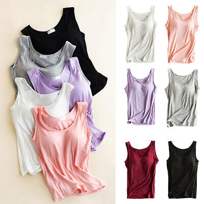 Fashion Women Strap Built-in Bra Padded Yoga Tank Top Camisole Cami Vest Tops AU
