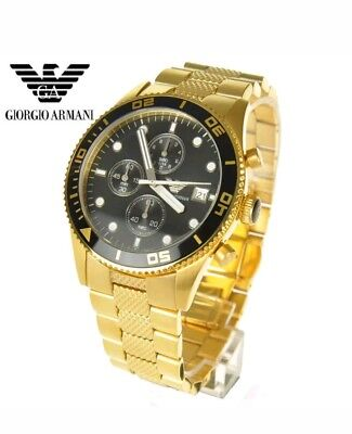 New Emporio Armani Ar5857 Gold Stainless Steel Black Chronograph Men's Watch