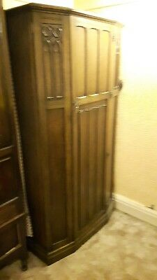 Vintage Oak Crown AY Hall Wardrobe 1920s 1930s Linenfold