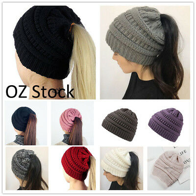 Women's Ponytail Beanie Skull Cap Winter Warm Stretch Cable Knit High Bun Hat
