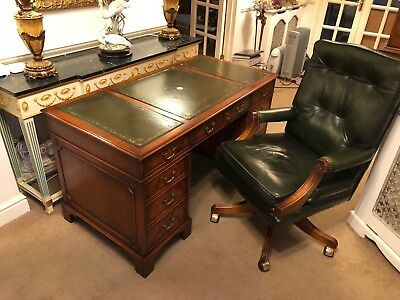 Vintage Bevan Funnell Mahogany Desk & Chair - Owned by Sir Henry Cooper