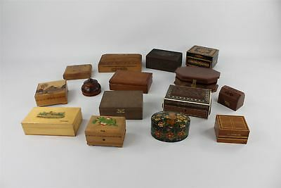 Lot of Vintage Wooden Trinket Boxes - Inlayed , Carved , Painted , Poker-work