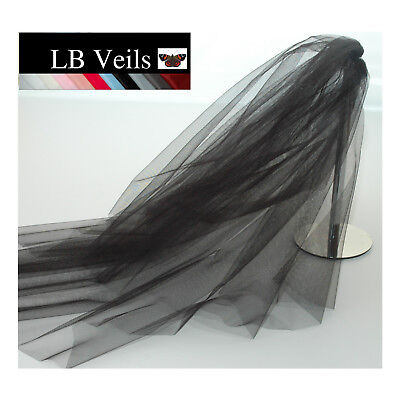 Black Crystal Veil Wedding Any Length 2 Tier Long Short Bridal LBV151 LBVeils UK