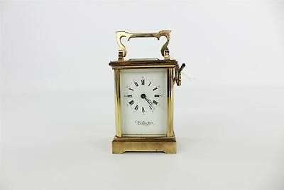 Vintage Mantel / Carriage Wellington Gold Tone Key-wind Clock with Key 1206g