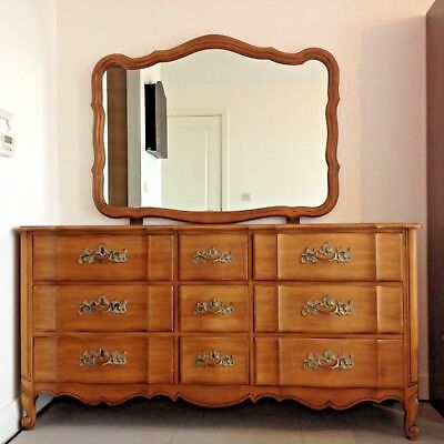 Beautiful French Louis XV style period walnut commode with stunning Mirror
