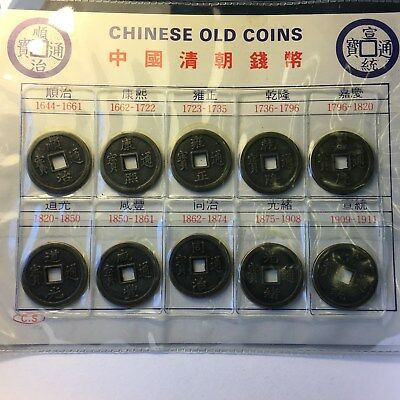 Ancient Dynasty of China Souvenir Coin Set Round Coins with Square Hole