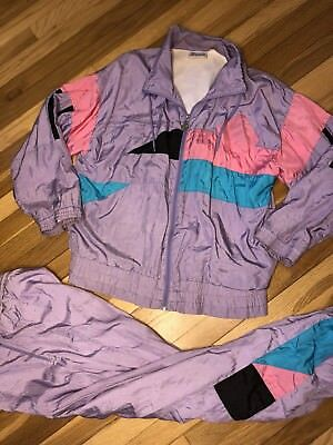 80s VTG Reebok Windbreaker Track Suit Pants Two Piece Jacket 14 Large 90s Retro