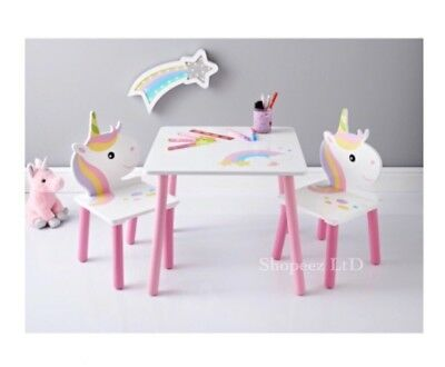 New Kids Bedroom Unicorn Theme Table and 2 Chairs