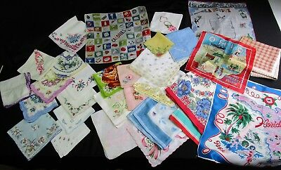 Lot of 30 Hankies Handkerchieves , Embroidery, Crochet Lace, Printed Floral