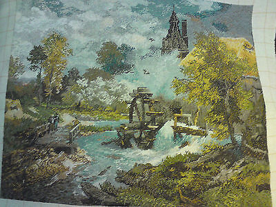 Water Mill  Picture,  Goblen Tapestry,wall Hanging, Complete, Embroidery