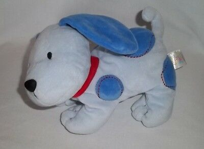 CARTERS Plush PUPPY Dog Blue Dots Red Stitches Collar Stuffed JUST ONE YEAR