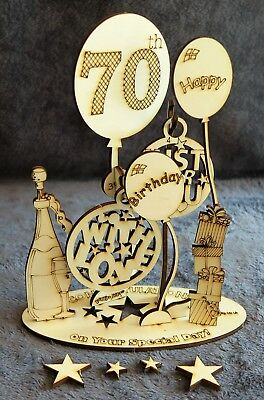 Happy 60th Birthday Card Gift Unique Pop Up A4 Wooden 3D Design Special Keepsake