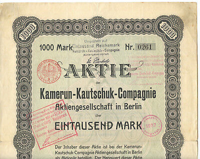 KAMERUN 1911, Aktie, stock cert. w. coupons and follow up documentation to 1947