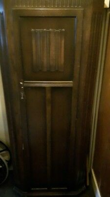 Vintage Oak Hall Cupboard Wardrobe Linenfold