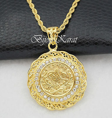 Resat Ancient ceyrek TUGRA Gold Coin incl. Necklace Turquish Gold 24 Carat gp
